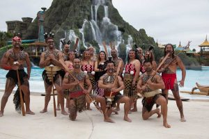 Our māori warriors performing a pūkana at the grand opening of Universal Studios in USA